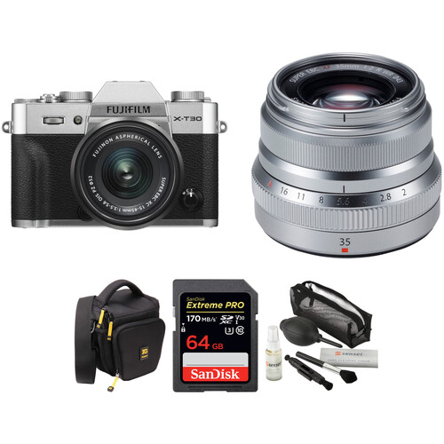 FUJIFILM X-T30 Mirrorless Digital Camera with 15-45mm and 35mm f/2 Lenses and Accessories Kit (Silver)