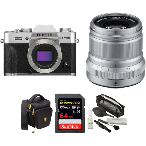 FUJIFILM X-T30 Mirrorless Digital Camera with 50mm f/2 Lens and Accessories Kit (Silver)