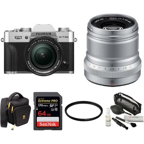 FUJIFILM X-T30 Mirrorless Digital Camera with 18-55mm and 50mm f/2 Lenses and Accessories Kit (Silver)