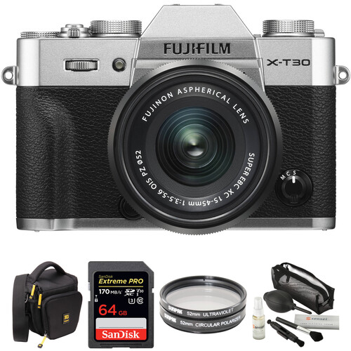 FUJIFILM X-T30 Mirrorless Digital Camera with 15-45mm Lens and Accessories Kit (Silver)