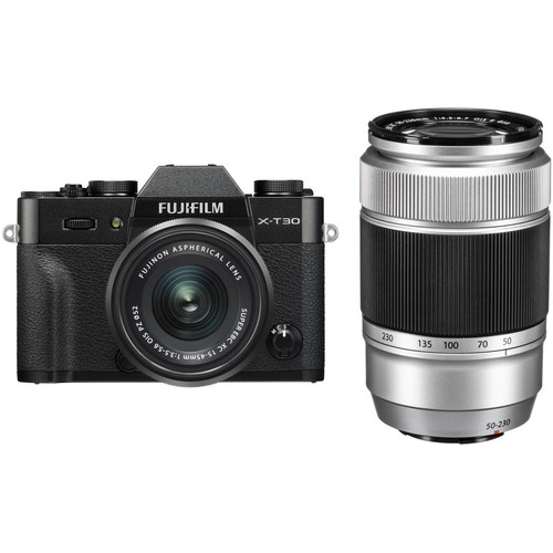 FUJIFILM X-T30 Mirrorless Digital Camera with 15-45mm and 50-230mm Lenses Kit (Black/Silver)