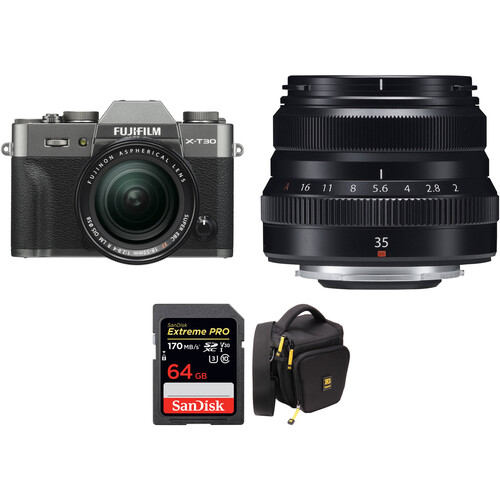 FUJIFILM X-T30 Mirrorless Digital Camera with 18-55mm and 35mm f/2 Lenses and Accessories Kit (Charcoal Silver)