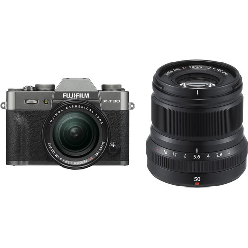 FUJIFILM X-T30 Mirrorless Digital Camera with 18-55mm and 50mm f/2 Lenses (Charcoal Silver/Black)
