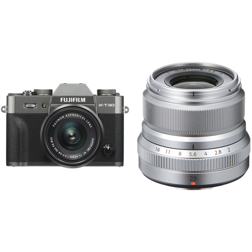FUJIFILM X-T30 Mirrorless Digital Camera with 15-45mm and 23mm f/2 Lenses (Charcoal Silver/Silver)