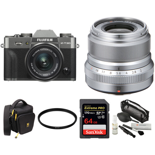 FUJIFILM X-T30 Mirrorless Digital Camera with 15-45mm and 23mm f/2 Lenses and Accessories Kit (Charcoal Silver/Silver)