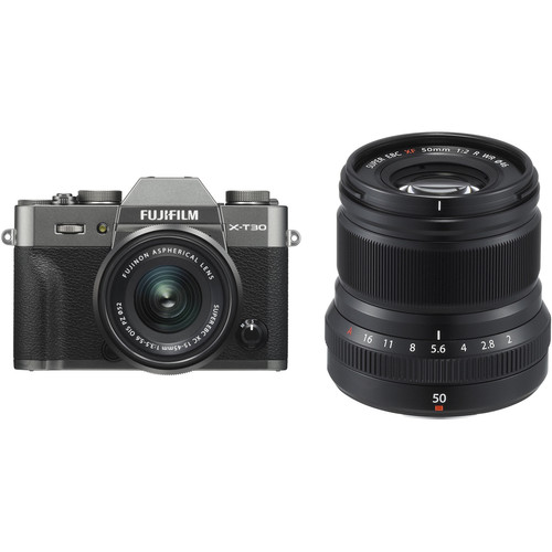 FUJIFILM X-T30 Mirrorless Digital Camera with 15-45mm and 50mm f/2 Lenses (Charcoal Silver/Black)