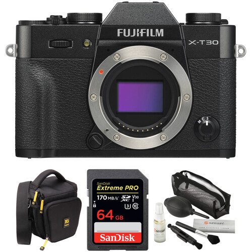 FUJIFILM X-T30 Mirrorless Digital Camera Body with Accessories Kit (Black)