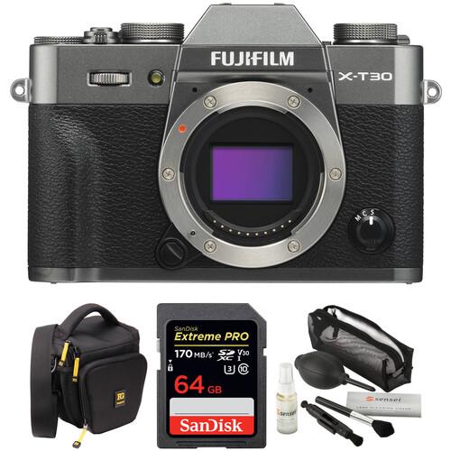 FUJIFILM X-T30 Mirrorless Digital Camera Body with Accessories Kit (Charcoal Silver)