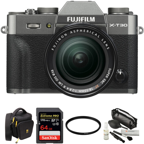 FUJIFILM X-T30 Mirrorless Digital Camera with 18-55mm Lens and Accessories Kit (Charcoal Silver)