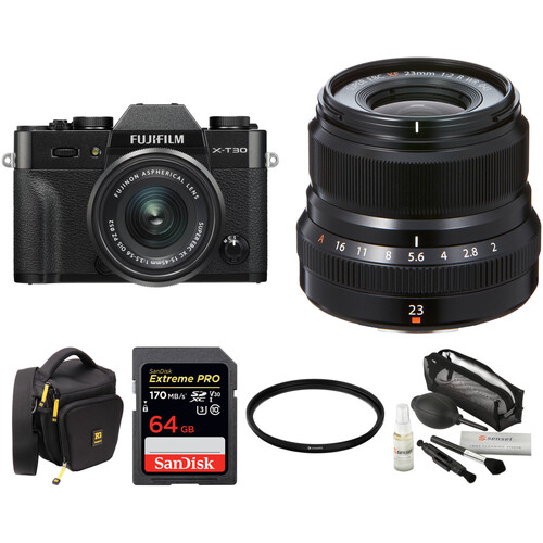 FUJIFILM X-T30 Mirrorless Digital Camera with 15-45mm and 23mm f/2 Lenses and Accessories Kit (Black/Black)