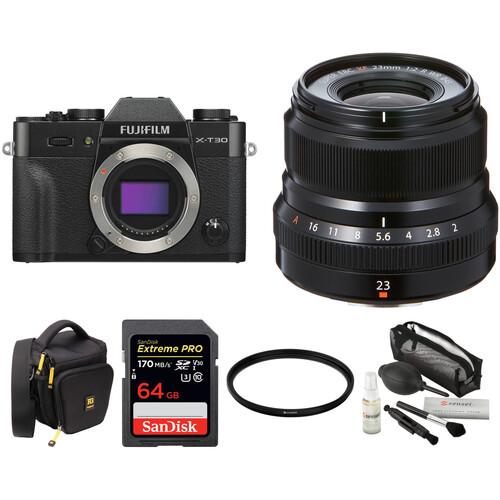 FUJIFILM X-T30 Mirrorless Digital Camera with 23mm f/2 Lens and Accessories Kit (Black)