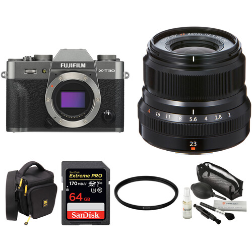 FUJIFILM X-T30 Mirrorless Digital Camera with 23mm f/2 Lens and Accessories Kit (Charcoal Silver)