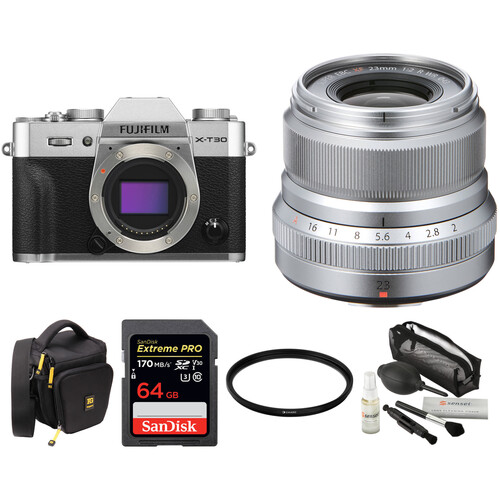 FUJIFILM X-T30 Mirrorless Digital Camera with 23mm f/2 Lens and Accessories Kit (Silver)