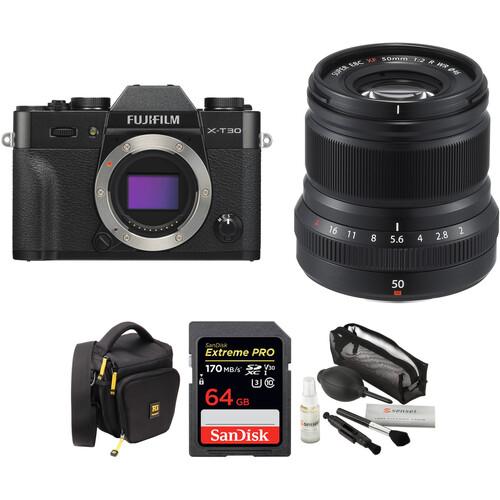 FUJIFILM X-T30 Mirrorless Digital Camera with 50mm f/2 Lens and Accessories Kit (Black)