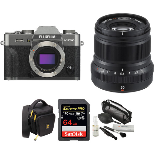 FUJIFILM X-T30 Mirrorless Digital Camera with 50mm f/2 Lens and Accessories Kit (Charcoal Silver)