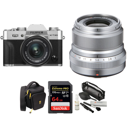 FUJIFILM X-T30 Mirrorless Digital Camera with 15-45mm and 23mm f/2 Lenses and Accessories Kit (Silver/Silver)