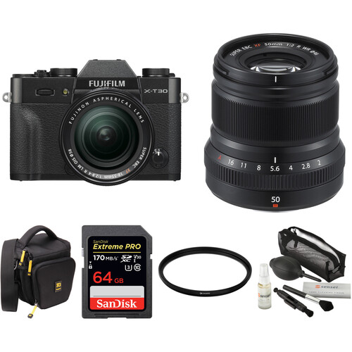FUJIFILM X-T30 Mirrorless Digital Camera with 18-55mm and 50mm f/2 Lenses and Accessories Kit (Black)