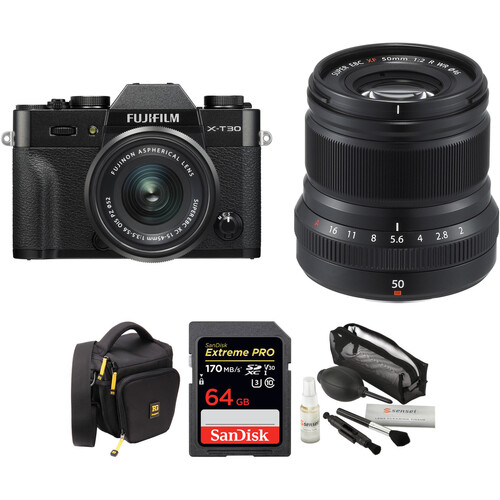 FUJIFILM X-T30 Mirrorless Digital Camera with 15-45mm and 50mm f/2 Lenses and Accessories Kit (Black/Black)