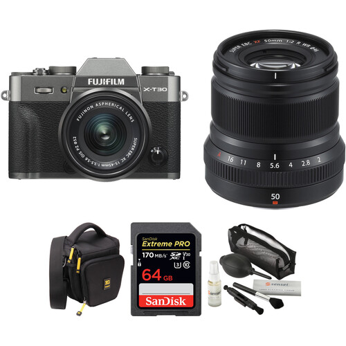 FUJIFILM X-T30 Mirrorless Digital Camera with 15-45mm and 50mm f/2 Lenses and Accessories Kit (Charcoal Silver/Black)