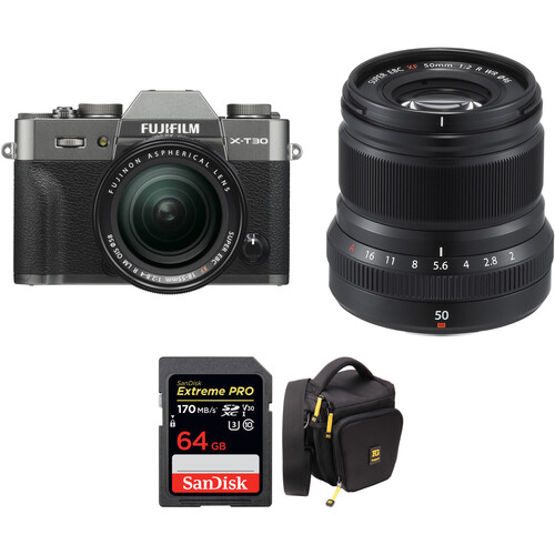 FUJIFILM X-T30 Mirrorless Digital Camera with 18-55mm and 50mm f/2 Lenses and Accessories Kit (Charcoal Silver)