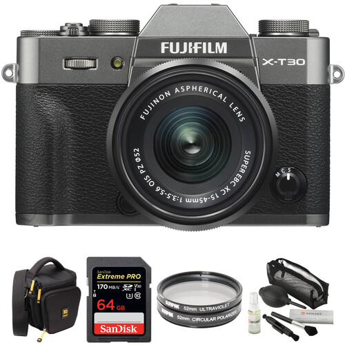 FUJIFILM X-T30 Mirrorless Digital Camera with 15-45mm Lens and Accessories Kit (Charcoal Silver)