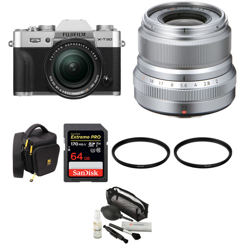 FUJIFILM X-T30 Mirrorless Digital Camera with 18-55mm and 23mm f/2 Lenses and Accessories Kit (Silver)