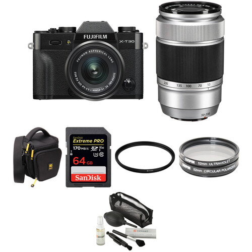 FUJIFILM X-T30 Mirrorless Digital Camera with 15-45mm and 50-230mm Lenses and Accessories Kit (Black/Silver)