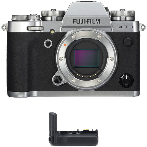 FUJIFILM X-T3 Mirrorless Digital Camera Body with Battery Grip Kit (Silver)