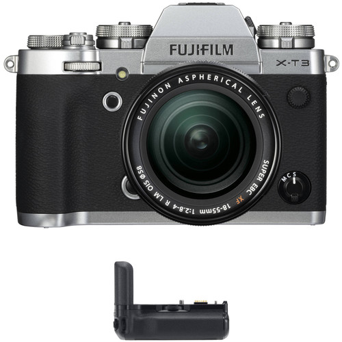 FUJIFILM X-T3 Mirrorless Digital Camera with 18-55mm Lens and Battery Grip Kit (Silver)