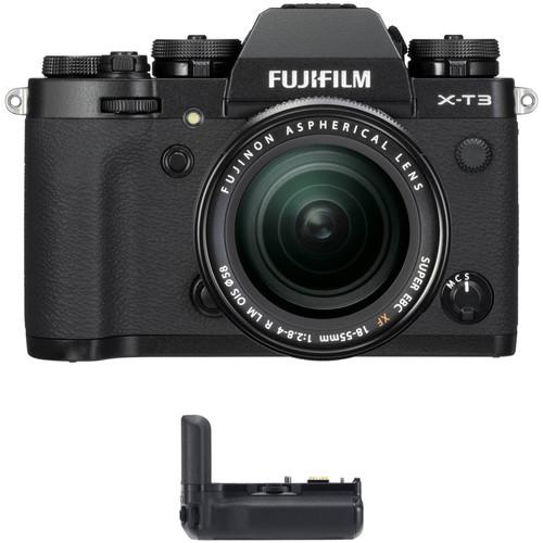 Fujifilm X-T3 Mirrorless Digital Camera with 18-55mm Lens and Battery Grip Kit (Black)
