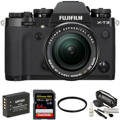 FUJIFILM X-T3 Mirrorless Digital Camera with 18-55mm Lens and Accessories Kit (Black)