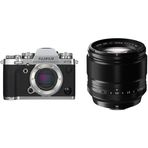 FUJIFILM X-T3 Mirrorless Digital Camera with 56mm Lens Kit (Silver)