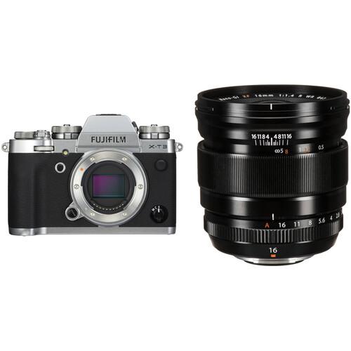 FUJIFILM X-T3 Mirrorless Digital Camera with 16mm f/1.4 Lens Kit (Silver)