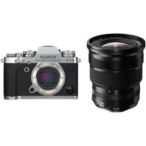 FUJIFILM X-T3 Mirrorless Digital Camera with 10-24mm Lens Kit (Silver)