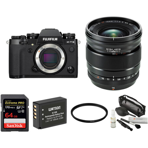 FUJIFILM X-T3 Mirrorless Digital Camera with 16mm f/1.4 Lens and Accessories Kit (Black)