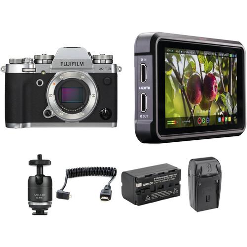 FUJIFILM X-T3 Mirrorless Digital Camera with Ninja V Kit (Silver)