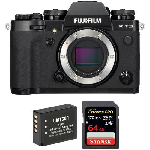FUJIFILM X-T3 Mirrorless Digital Camera Body with Accessories Kit (Black)