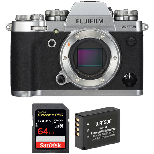 FUJIFILM X-T3 Mirrorless Digital Camera Body with Accessories Kit (Silver)
