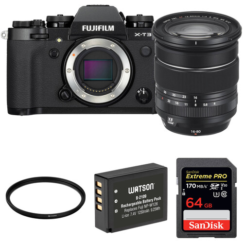FUJIFILM X-T3 Mirrorless Digital Camera with 16-80mm Lens and Accessories Kit (Black)