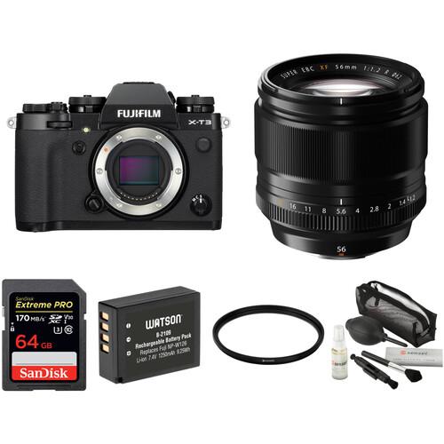 FUJIFILM X-T3 Mirrorless Digital Camera with 56mm Lens and Accessories Kit (Black)