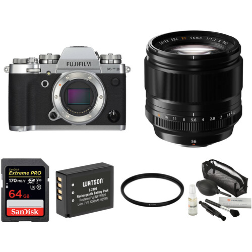FUJIFILM X-T3 Mirrorless Digital Camera with 56mm Lens and Accessories Kit (Silver)