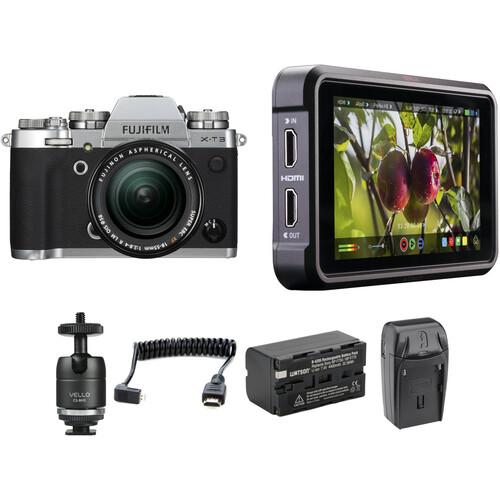 FUJIFILM X-T3 Mirrorless Digital Camera with 18-55mm Lens and Ninja V Kit (Silver)