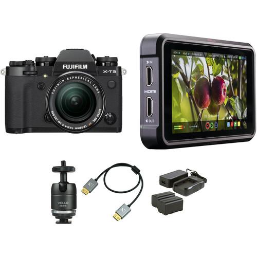 FUJIFILM X-T3 Mirrorless Digital Camera with 18-55mm Lens and Ninja V Kit (Black)