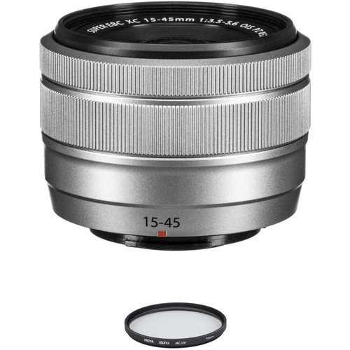 FUJIFILM XC 15-45mm f/3.5-5.6 OIS PZ Lens with UV Filter Kit (Silver)