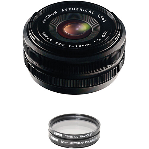 FUJIFILM XF 18mm f/2 R Lens with UV Filter Kit