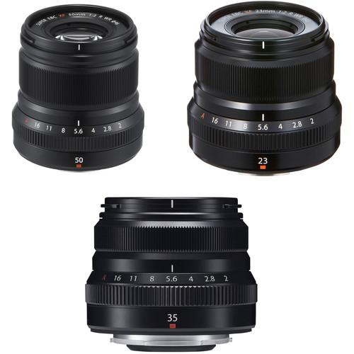 Fujifilm XF 50mm, 35mm, and 23mm f/2 WR Lenses Kit (Black)