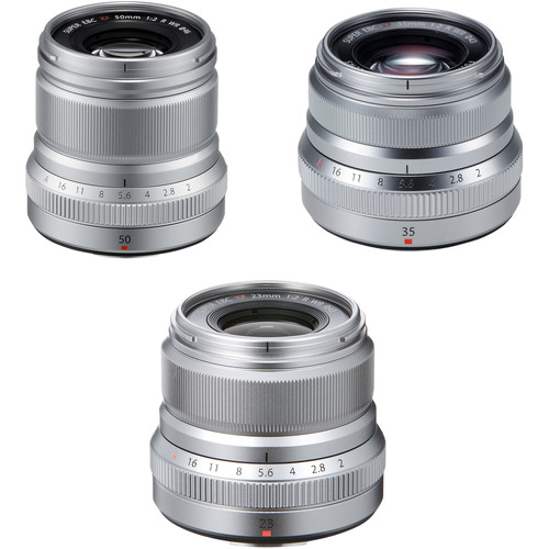 FUJIFILM XF 50mm, 35mm, and 23mm f/2 WR Lenses Kit (Silver)