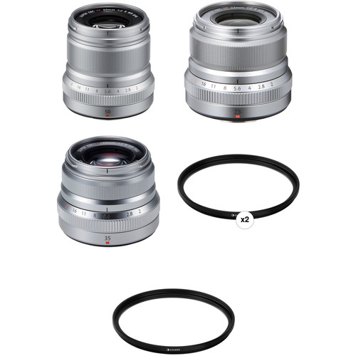FUJIFILM XF 50mm, 35mm, and 23mm f/2 WR Lenses and Filters Kit (Silver)