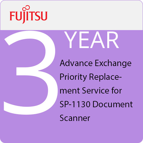 Fujitsu 3-Year Advance Exchange Priority Replacement Service for SP-1130 Document Scanner