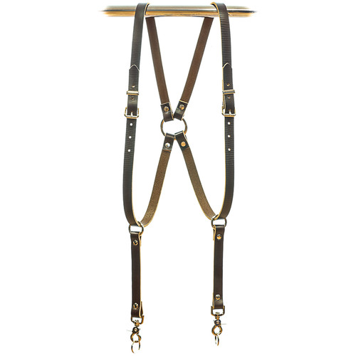 Funk Plus Skinny Ring Back Dual-Camera Cowhide Leather Harness (Brown)